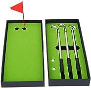 Golf Pen Holder Set, Mini Golf Balls Toy Desktop Golf Gift Set Includes Putting Green,Flag,3 Pieces Aluminum C
