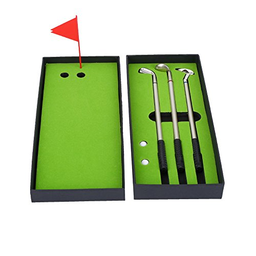 Dilwe Golf Pen Set, Mini Desktop Golf Ball Pen Gift Set Including 3Pcs Mini Golf Ball-Point Pen and Flag Stationery Decorations for Golfer Fans ()