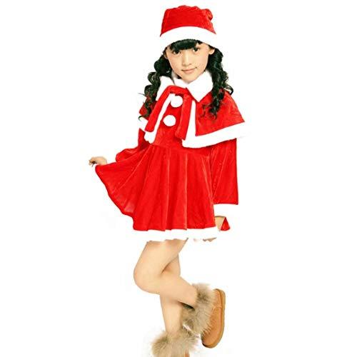 Christmas santa costume kids Santa Fancy Dress for girls with Santa Hat ()
