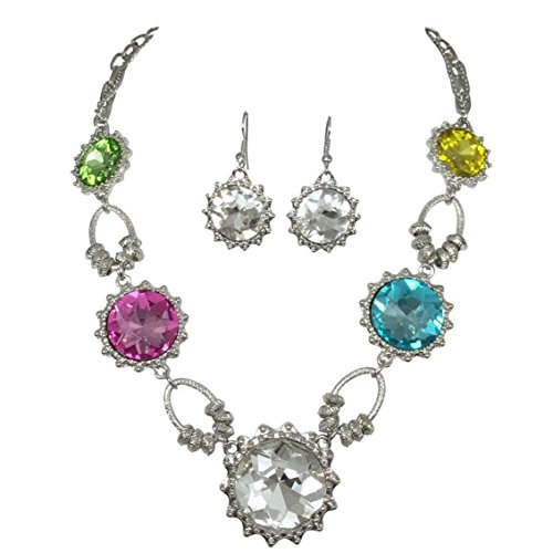 estone Statement Necklace and Dangle Earring Set (Multi color) ()