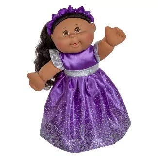 - Cabbage Patch Doll - 2018 Holiday Edition (Ethnic) - Black Hair Brown Eyes, Purple Dress, 14