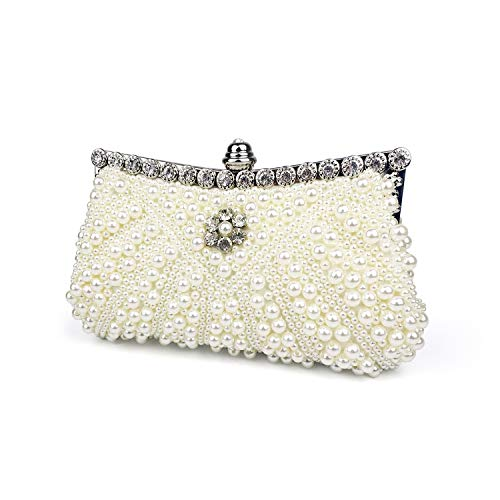 Womens Evening Clutch Bag, Handbag,Wedding Bag,Ladies Party Clutch Purse, with Gift Box (White-Faux ()