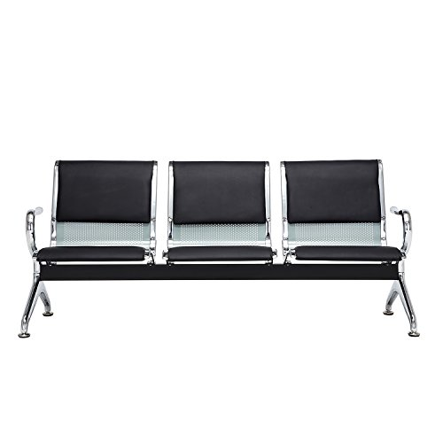 Bestmart INC Bench 3-Seat Barber Salon Airport Reception Waiting Room With Black Pu Leather Cushion by Bestmart INC