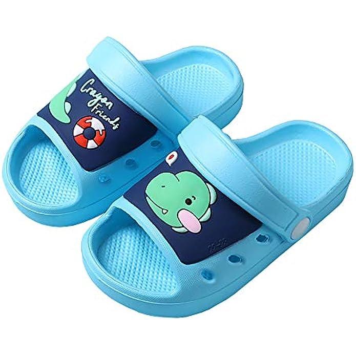 Holynissl Toddler Boys Girls Slide Sandals Non-Slip Beach Pool Sandals Lightweight Kids Slippers