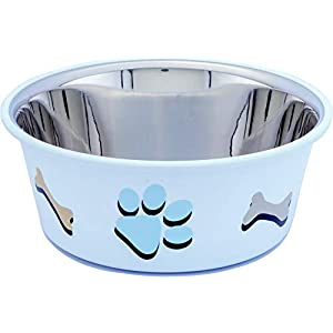 Elton Paw & Bone Cutie Bowls (White) Dog Bowls Export Quality Inside Stainless Steel Dog Food Bowl Feeder Bowls Pet Bowl for Feeding Dogs Cats and Pets (Medium – 0.935Qt. / 0.85 L)