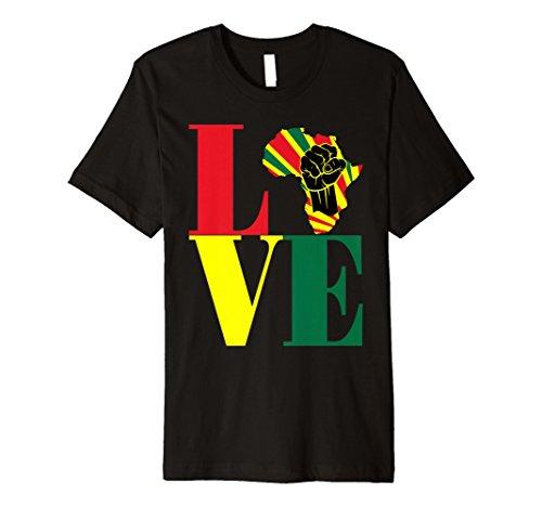 African Pride Black Power Fist Love Africa Map t-shirt (T-shirt Africa Map)