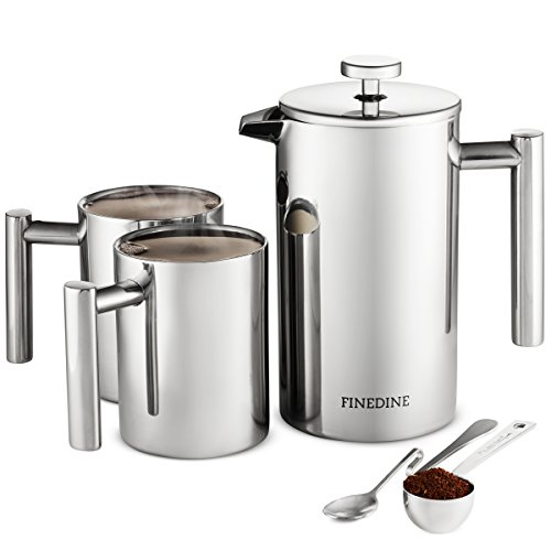 Aero Stainless Steel Equipment - Premium 18/8 Stainless Steel French Press Coffee Maker Triple Filtered, Exclusive Classic 5 Piece Set, With 2 Modern Double Wall Stainless Steel Coffee Mugs, Spoon, Measuring Scoop, Bonus Filter 34 Oz