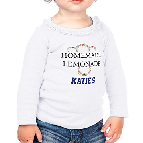 Personalized Custom Homemade Lemonade Cotton Taped Neck Girl Toddler Long Sleeve Ruffle Shirt Top Sunflower - White, 12 Months