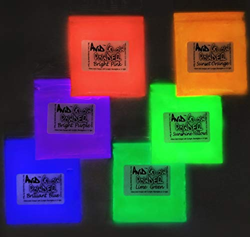 Glow Powder Fluorescent 6 Color Pack 3.2oz (90g) -Glow Pigment Powder Use in Resin, Slime, Paints, Coatings, Acrylic Powder; Premium Encapsulated Strontium Alumina ()