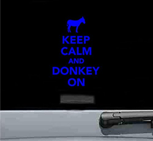 Keep calm and donkey on Vinyl Decal Sticker (BLUE)