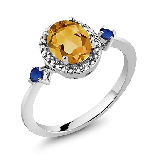 Oval Citrine Diamond Accent Ring - Gem Stone King 1.21 Ct Oval Yellow Citrine Blue Simulated Sapphire 925 Sterling Silver Ring With Accent Diamond