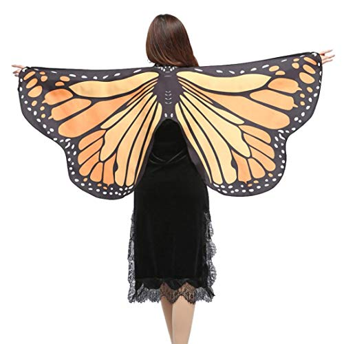 iDWZA Women Girl Butterfly Wings Shawl Scarves Pixie Cosplay Costume Accessory(14770cm,Orange-1)