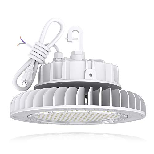 HYPERLITE White LED UFO High Bay Lights 250W 5000K Coollight 33,750lm 1-10V Dimmable 5 Cable with 110V Plug Hanging Hook Safe Rope UL/DLC Approved for Shopping Mall Stadium Exhibition Hall