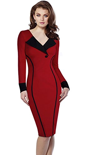 [Merope J Womens Contrast Color V Neck Formal OL Pencil Dress(M,Red)] (Lucille Ball Costumes For Halloween)