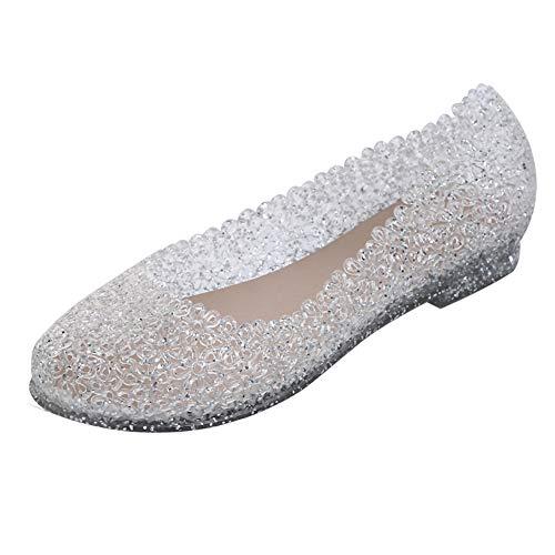 Ouronehome Girls Jelly Glass Slipper Flat Summer Womens Glitter Crystal Shoe -