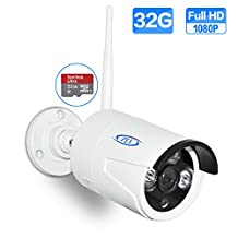 PLV Outdoor Full HD 1080P WiFi Wireless IP ONVIF Security Bullet Camera with IP66 Weatherproof and Built-in 32GB SD-Card by Remote View Via Smart Phone/Tablet/PC.