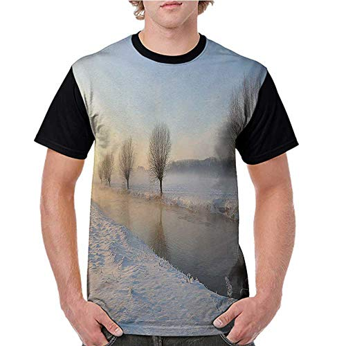 Girls Short Sleeve Tops,Winter,Snowy River Landscape Barren and Frosted Trees Dutch Netherlands Europe Photograph,Multicolor S-XXL O Neck T Shirt Female -