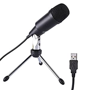 leshp usb microphone wired audio condenser microphone plug play with tripod home studio for pc. Black Bedroom Furniture Sets. Home Design Ideas