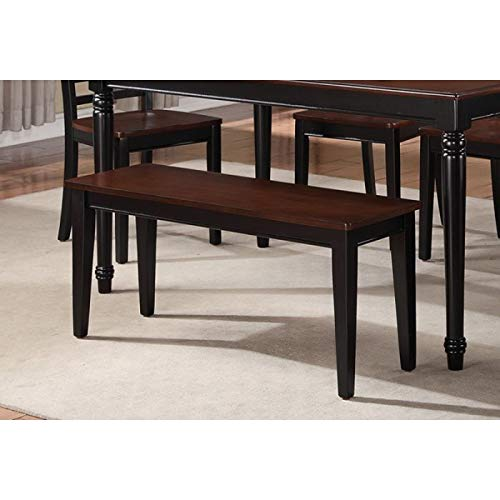 Modern Cherry and Black Finish Wood Dining Bench with a Rich Cherry Wood Veneer for The Seat