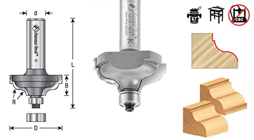 Amana Tool 54112 Carbide Tipped Ogee Fillet 5/32 R x 1-3/8 D x 1/2 CH x 1/2 Inch SHK w/Lower Ball Bearing Router Bit