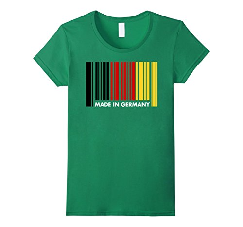 Womens Made in Germany Oktoberfest Barcode T Shirt German Flag Tees Large Kelly Green (Womens Oktoberfest Outfit)