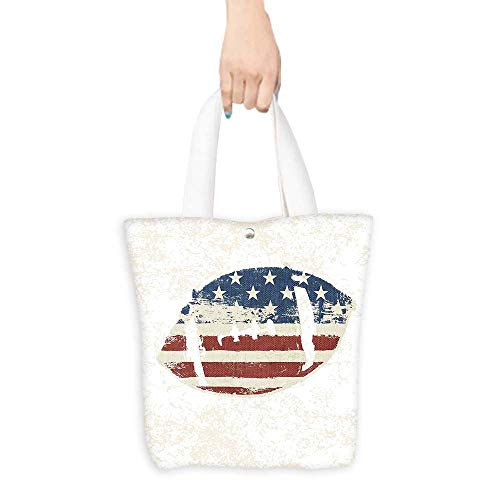 Vintage Daisy Football Canvas (Ecofriendly Shopping Bag Sports Decor Grunge American Flag Themed Hand Stitched Rugby Ball Vintage Design Football Theme Multi (W15.75 x L17.71 Inch))