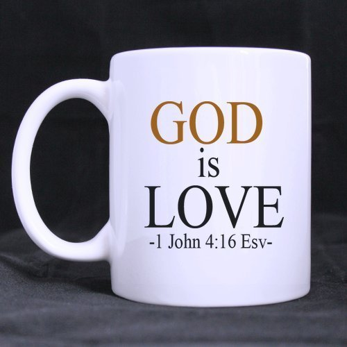 Halloween's Day Gifts Church Gifts Christian Gifts God is love -1 John 4:16 Esv- Bible Quotes 100% Ceramic 11-Ounce White Mug ()