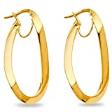 Solid 14k Yellow Gold Oval Curve Hoop Ea