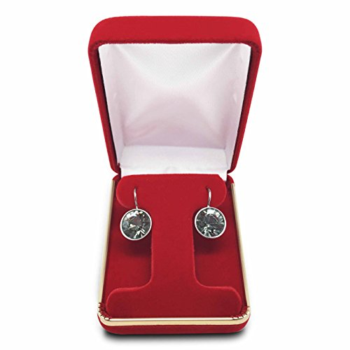 Red Ring Display Box (The Display Guys~ Deluxe Red VELVET Earring Hoop Gift Box, Jewelry Presentation Display Case with Gold Trim Metal Hinge (2 1/4x3x1 1/4 inch))