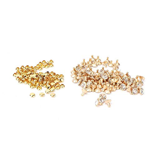 Crystal Rivets for Leather 100pcs Cloth Crystal Inlay Rapid 8/9mm Rivets Spots Studs for DIY Leather Clothes Bag Shoes Crafts and Decoration(8mm-金边+白钻) ()
