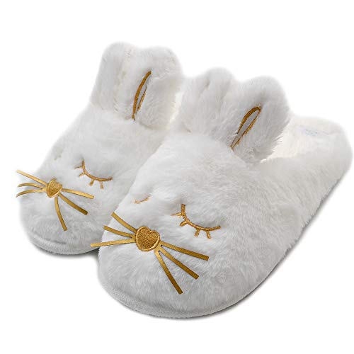 Cute Bunny Fuzzy Slippers |Warm Animal Memory Foam Rabbit Plush |Women Indoor Outdoor Bedroom Slippers (US 7-8, White)
