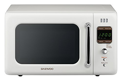 Daewoo KOR 7LRUEW Retro Countertop USB Microwave Oven 07 Cu Ft 700W Cream White