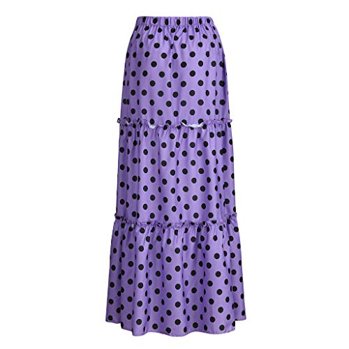 (JustWin Women's Skirt Ladies Fashion High Waist Polka Dot Printed Skirt Loose Ruffled Pleated Skirt Purple)