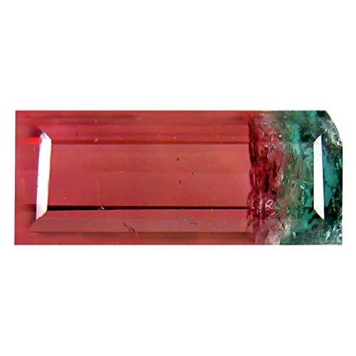3.14 ct OCTAGON (12 x 5 mm) BRAZILIAN BI-COLOR WATERMELON TOURMALINE GENUINE LOOSE GEMSTONE Bi Color Tourmaline Gem