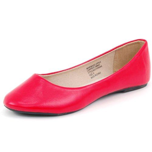 alpine swiss Women's Pierina Ballet Flats Red