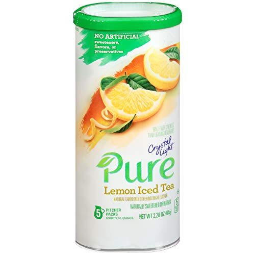 (Crystal Light On-The-Go Pure Lemon Iced Tea Drink Mix, 2.28 oz Can (5 Pitcher Pack))