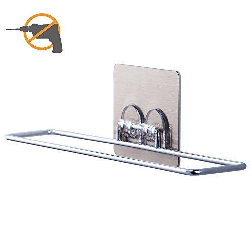 Towel Rack Laungda Towel Bar Holder Wall Mount Self Adhesive Towel Rail for Bathroom Shower Kitchen RV Caravan Chrome Dorm Pack of 1