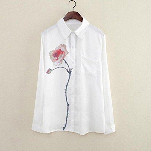 OverDose Damen Langarm Rosen Blumen Bluse drehen unten Kragen Chiffon  Hemden S, Weiß