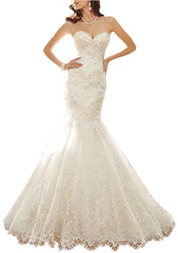 Sayadress Women's Sweetheart Beaded Applique Full Dress Long Trumpet Mermaid Wedding Dress Ivory US16 by Sayadress