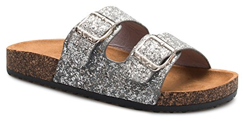 OLIVIA K Women's Summer Open Toe Double Buckle Strap Fashion Cozy Footbed Flat Sandals (Womens Sandals Glitter)