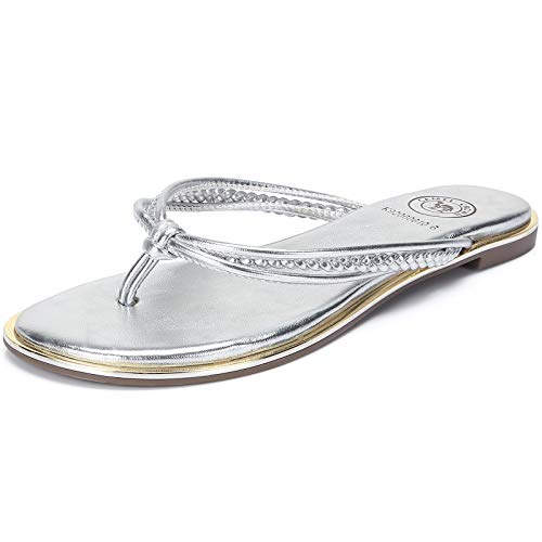 CAMEL CROWN Women's Metallic Flip-Flops Braided T-Strap Thong Flat Sandals Faux Leather Fashion Slip on Beach Summer Shoes, Size 10 Silver