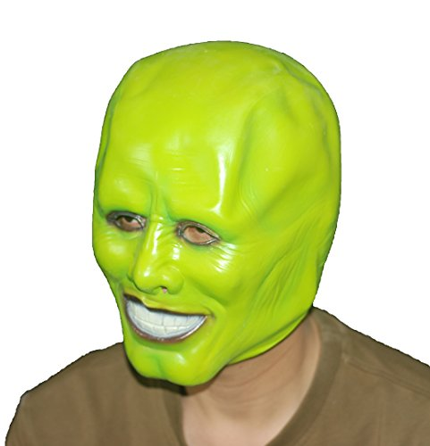 DylunSky Green Head Mask Halloween Jimcarry Latex Mask]()