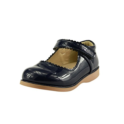 Girl's School Dress Classic Shoes Mary Jane Toddler size Glossy Red, Navy Blue (09, Navy Blue) ()