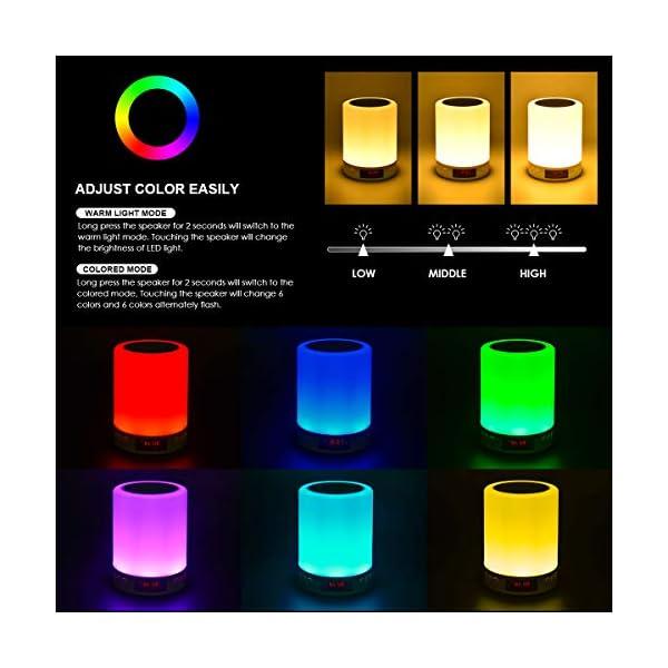 5 EN 1 Lampe de Chevet Tacile Rechargeable Portable,JOLVVN Lampe de Table Enceinte Bluetooth Musique USB FM Radio Réveil Numérique Lumière LED Multicolore Cadeau Hommes/Femmes/Enfants 2