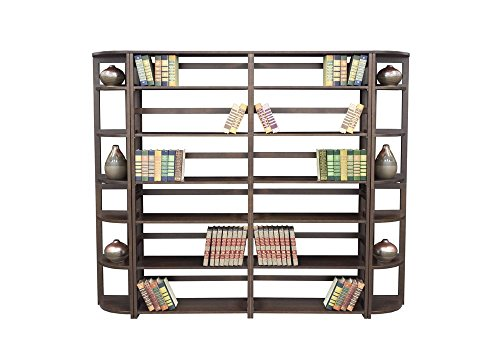 Wood Six-Shelf Folding Bookcase Wall Unit Dimensions: 83