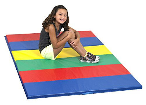 "Children's Factory Rainbow Folding Gym Mat – 4′ by 6′ – Colorful Mat Perfect for Exercise and Play – Comfortable 1½"" Foam Padding – Light, Portable, Folds for Easy Storage – Wipe Clean Surface"