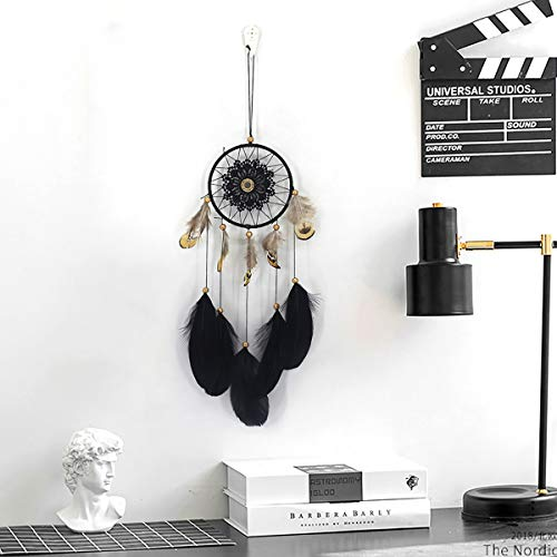 Niceko Handmade Traditional Black Feather Dream Catcher Car Wall Hanging Decoration Ornament Gift -