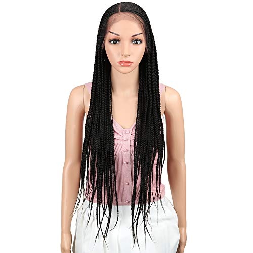 g Micro Braided Lace Frontal Wigs With Baby Hair Hight Temperature Synthetic Wigs For Black Women 180% Density Full Hand Made Braiding Style£¨Black£ ()