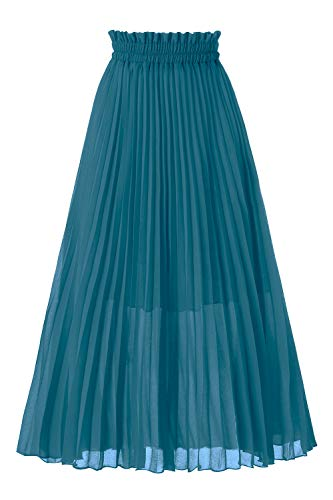 Musever Women's Pleated A-Line High Waist Swing Flare Midi Skirt Steel Blue -