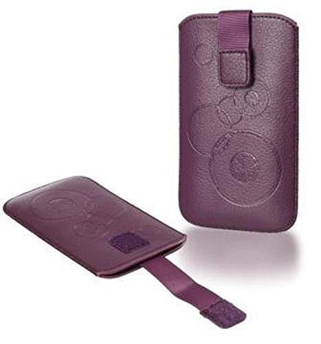Handytasche Circle geeignet u.a. für Apple Iphone 7, Sony Xperia X Compact, Samsung Galaxy J1 (2016), Huawei Y3 II LTE, Huawei Y5 Handy Tasche Schutz Hülle Slim Case Cover Etui violett (lila) mit Klet